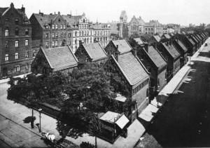 Arbeitersiedlung der Mechanischen Weberei zwischen Pfarrland- und Velvetstraße, 1911