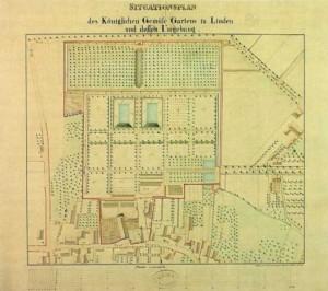 Plan des Küchengartens um 1860 (© Nds. Hauptstaatsarchiv 12 e Linden 2 pm)