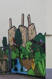 Wandbild neben den Jugenzentrum Posthornstraße