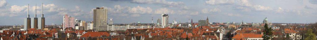 Ausblick vom Wasserhochbehälter auf die Skyline von Hannover
