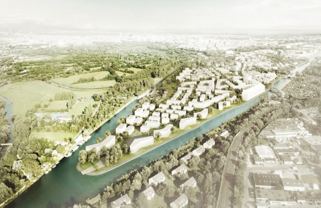 Wasserstadt Limmer: Luftperspektive, Visualisierung zukünftiges Wohngebiet