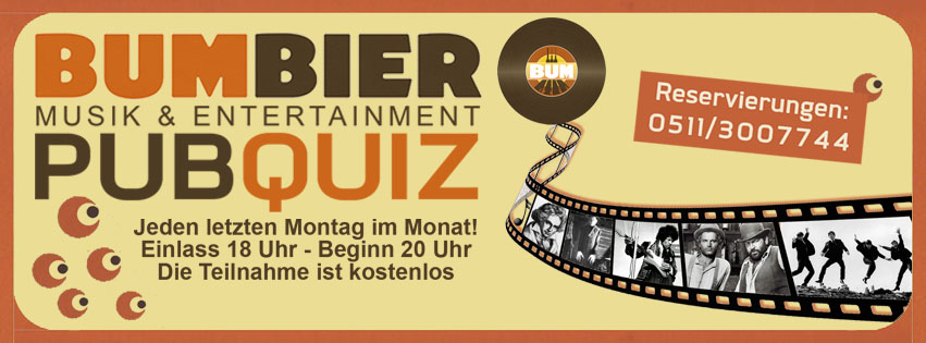 BUM BIER Musik & Entertainment PUB QUIZ