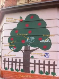 Apfelbaum in der Pavillonstraße - Ist das Kunst oder kann das weg?