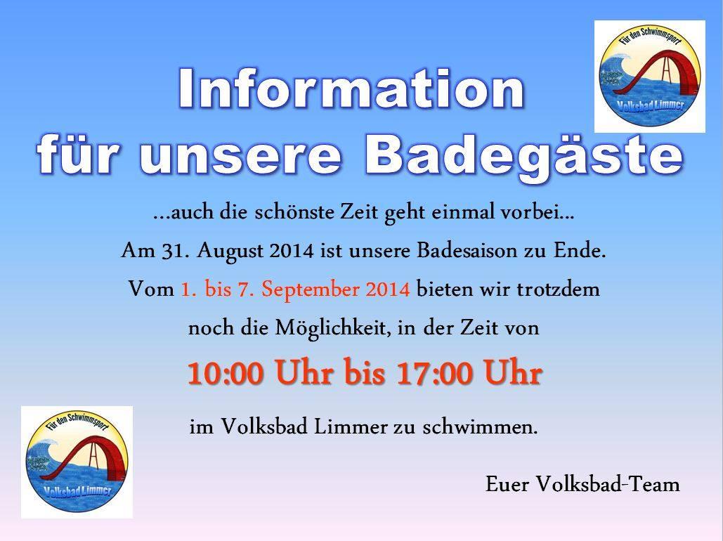 Information für die Badegäste