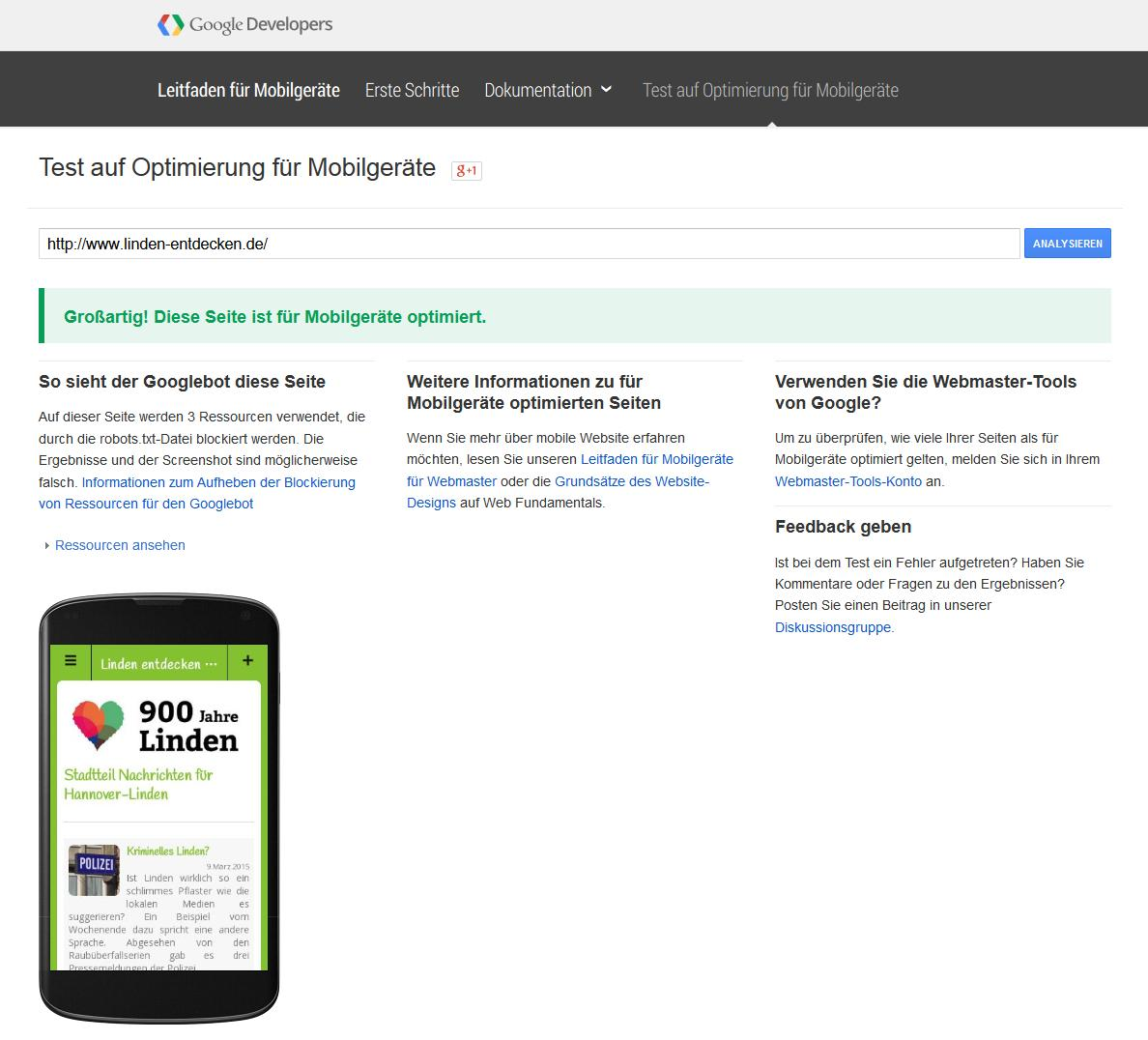 www.Linden-entdecken.de für Mobilgeräte optimiert