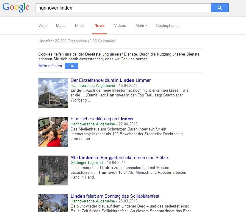 Google-News-Suche: Hannover Linden