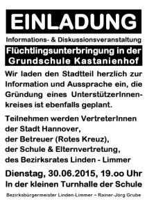 Informations- & Diskussionsveranstaltung zur Flüchtlingsunterbringung in der GS Kastanienhof Limmer