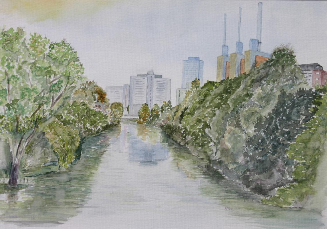 Linden am Fluß von Volker Brose
