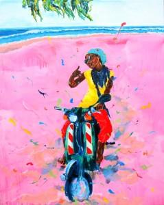 Scooter Girl (Amie), Acryl auf Leinwand, 200 x 160 cm, 2015