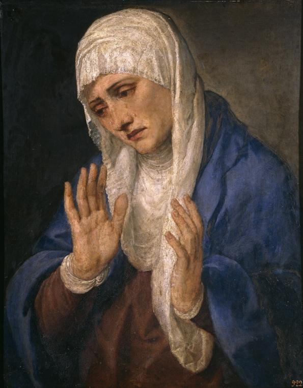 Mater Dolorosa auf einem Bild von Tizian 1554