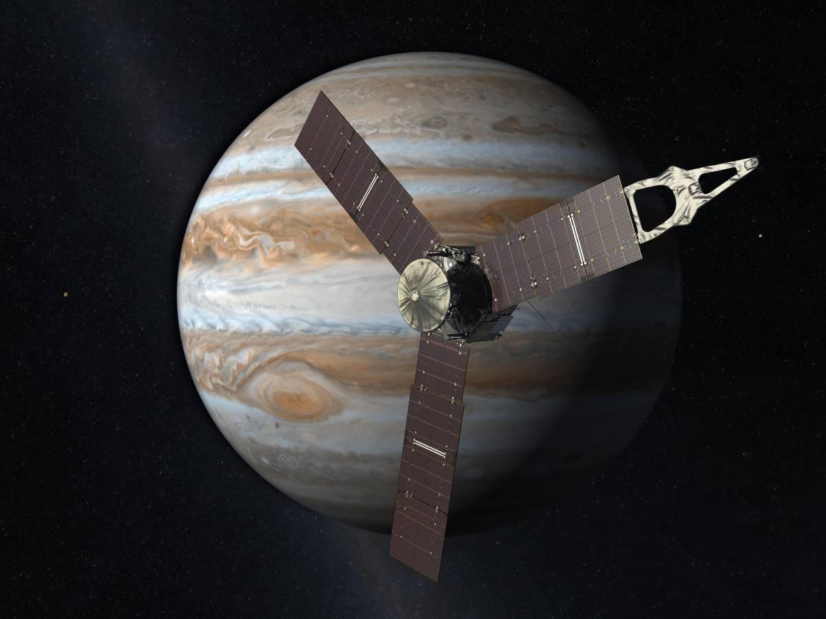 Künstlerische Darstellung der Raumsonde am Jupiter