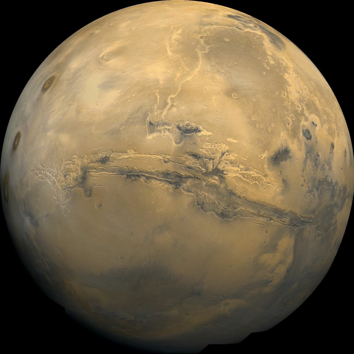 Ein Mosaikbild des Planeten Mars, aufgenommen mit dem Viking 1 Orbiter. Bild: NASA/USGS