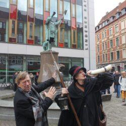 Kulturdezernent Harald Härke und der Nachtwächter Melchior von Stattreisen