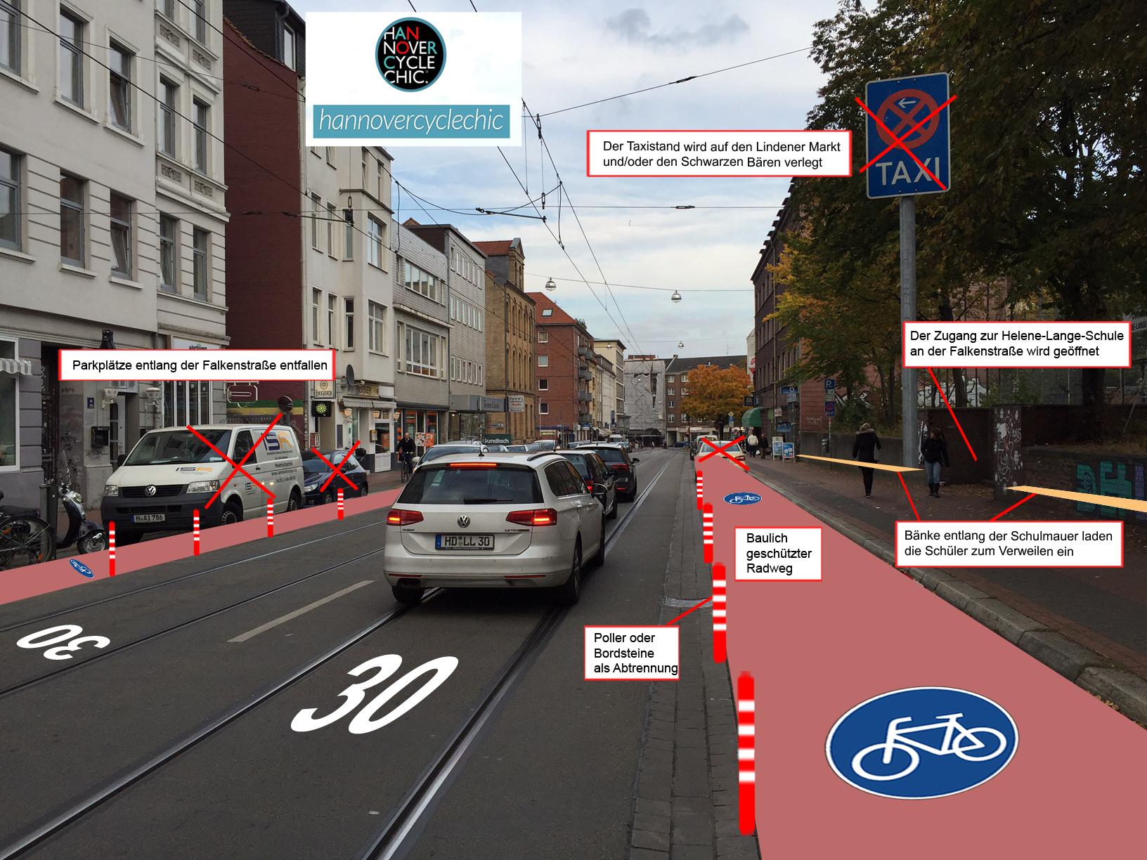 Protected-Bike-Lane auf der Falkenstraße (hannovercyclechic)