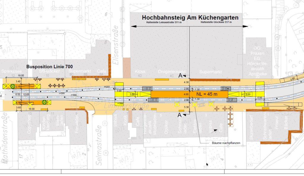 Planung für den Hochbahnsteig Küchengarten