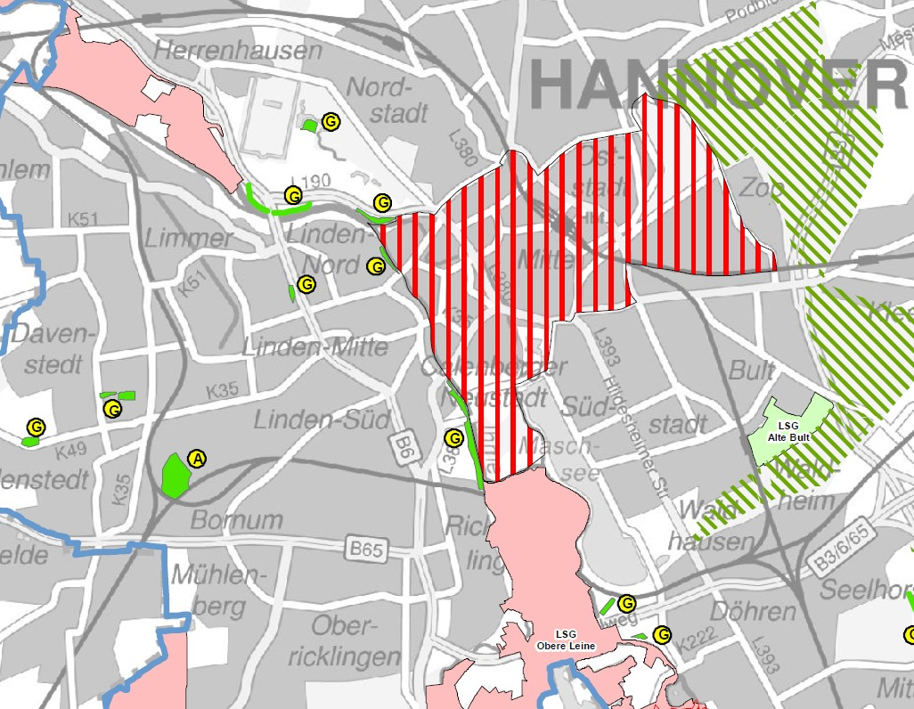 Übersichtskarte Anleinpflicht (Quelle: hannover.de)