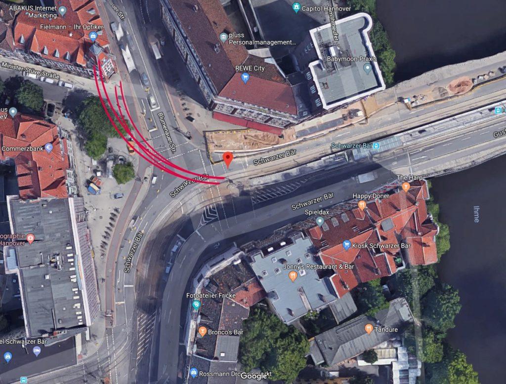 Kurvenradius der geplanten Stadtbahn am Schwarzer Bär (Quelle: Google)