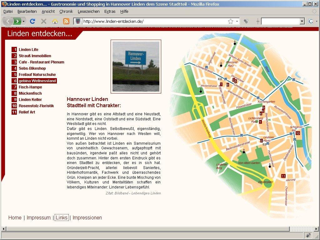 Die Startseite von punkt-linden.de im Jahr 2005