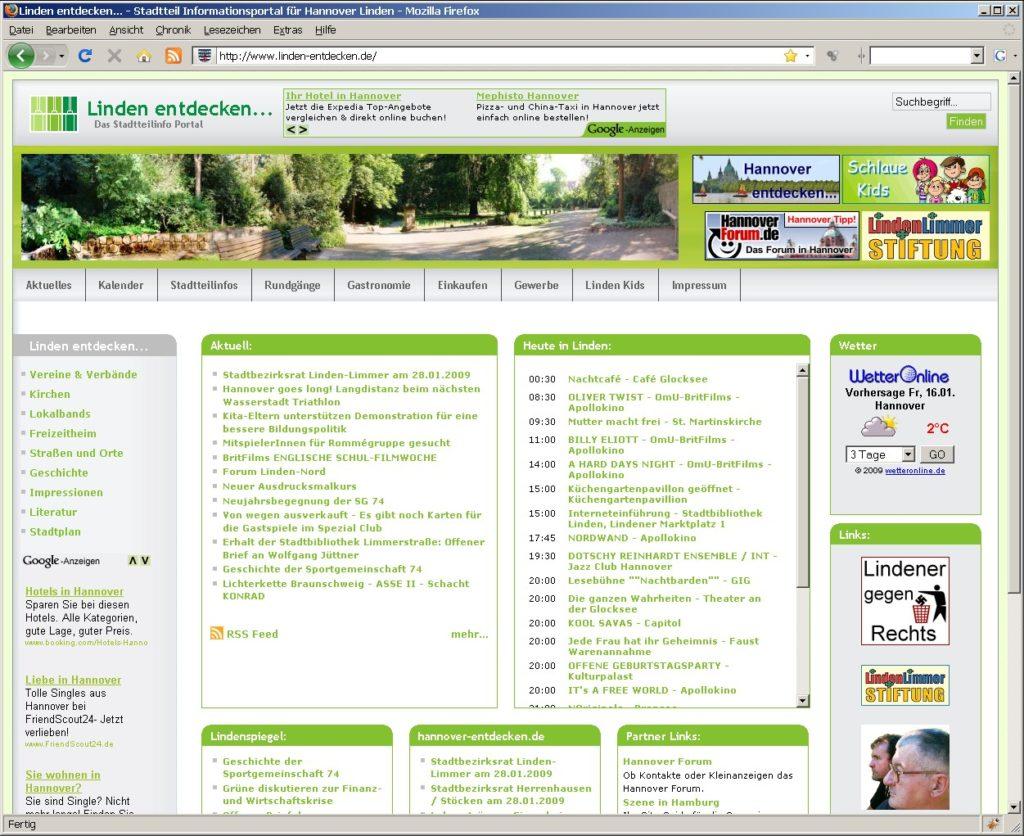 Die Startseite von punkt-linden.de im Jahr 2009