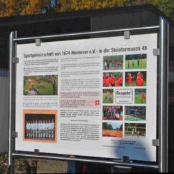 Sportverein mit großer Geschichte – Informationstafel über die SG 74