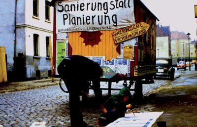 1979: Protest gegen die Sanierung der Häuser in der Viktoriastraße.