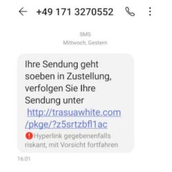 Polizei Hannover warnt vor gefälschtem SMS-Paketbenachrichtigungslink